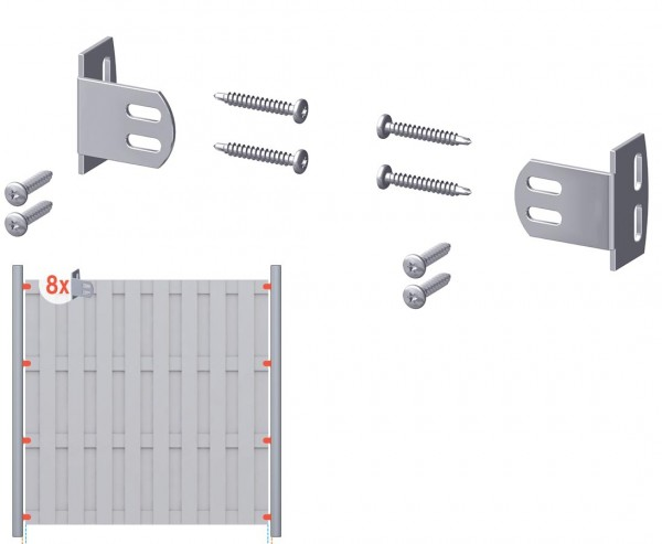 Elementhalter für Zäune 8er Set, Winkel Edelstahl und Metallschrauben