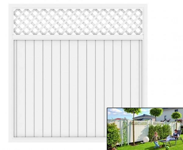 """Gartenzaun mit Zierleiste """"Longlife Riva"""" weiß, 180 x 180 aus Kunststoff"""