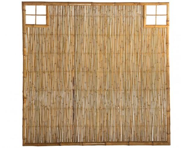 """Bambus Wand """"TEN"""" mit Gitter Ausschnitt oben rechts und links, 180 x 180cm"""