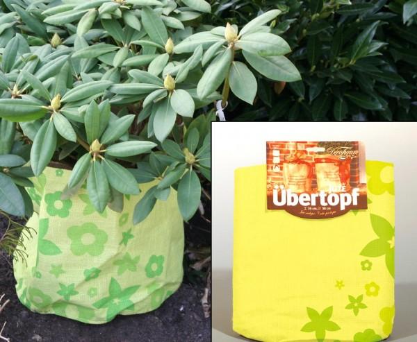 """Jute Übertopf hellgrün mit """"Blumen"""" Muster für Pflanzen im Winter, Durch. 35 x 38cm"""