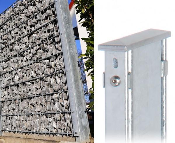 Zaunpfosten 240cm fverz. 120x40mm für Doppelstabmatten & Gabionen mit 160cm und 2 Profilen