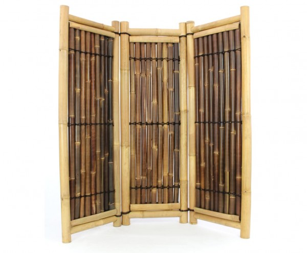 Raumteiler aus Bambus 3teilig gelb schwarz mit 180x180cm, Wulung und Petung Rohre