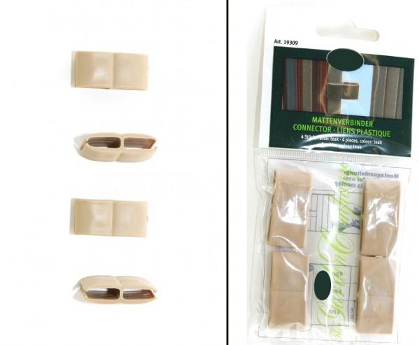 Verbinder für Kunststoffmatten von Videx, teak farbig, mit 4 Stück pro Beutel