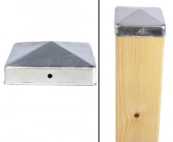 Pfostenkappe Pyramiden Form für 7x7cm Pfosten aus feuerverzinktem Stahl