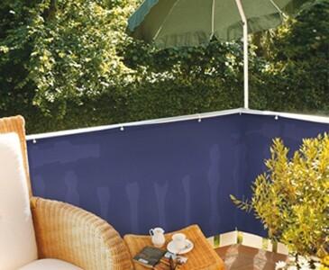 Balkonsichtschutz aus PE Material, blau Höhe 90cm Länge 500cm