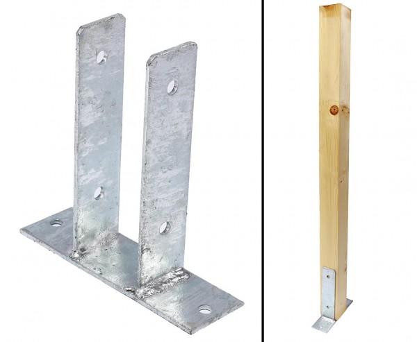 Träger Pfosten zum Aufschrauben für 7cm Hölzer in U-Form aus feuerverzinktem Stahl