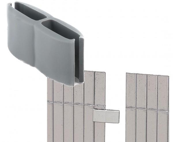 Mattenverbinder für Kunststoff Balkon Sichtschutz von Videx, aluminium farbig mit 4 Stück pro Beutel