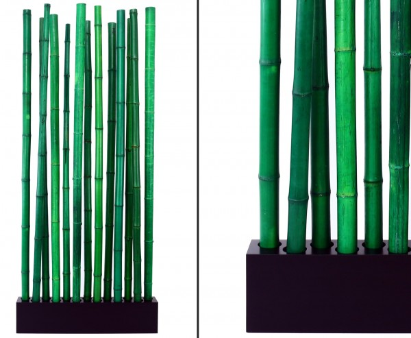 """Bambus Raumteiler """"Paris3"""" mit ca. 205x90x12cm, Sockel und 13 Rohre grün 5 bis 6cm"""