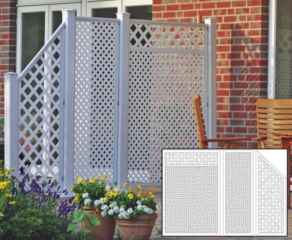 Sichtschutz Terrasse Coventry Set 6, mit 3 weissen Elementen und Zubehör, Maße L:295 x H:190cm