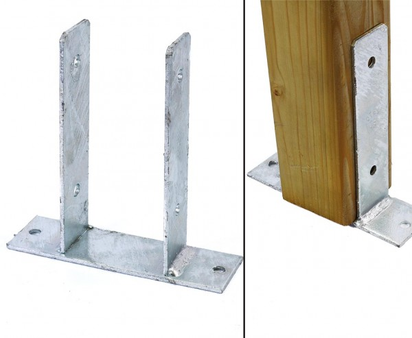 Träger Pfosten 9x9cm zum Aufschrauben aus feuerverzinkten Stahl U-Form Stützenschuh
