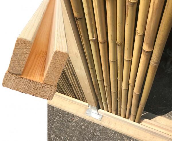 Bambus Zaun U Profil Set oben und unten mit 250x7x7,5cm für Bambusmatte Bali Heavy