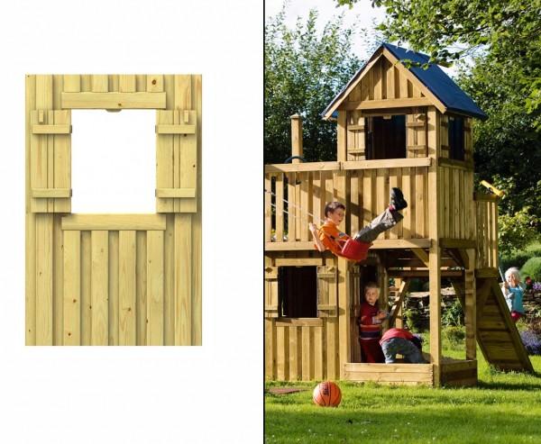 Spielturm Wandelement mit Fenster aus Holz, 139x90cm