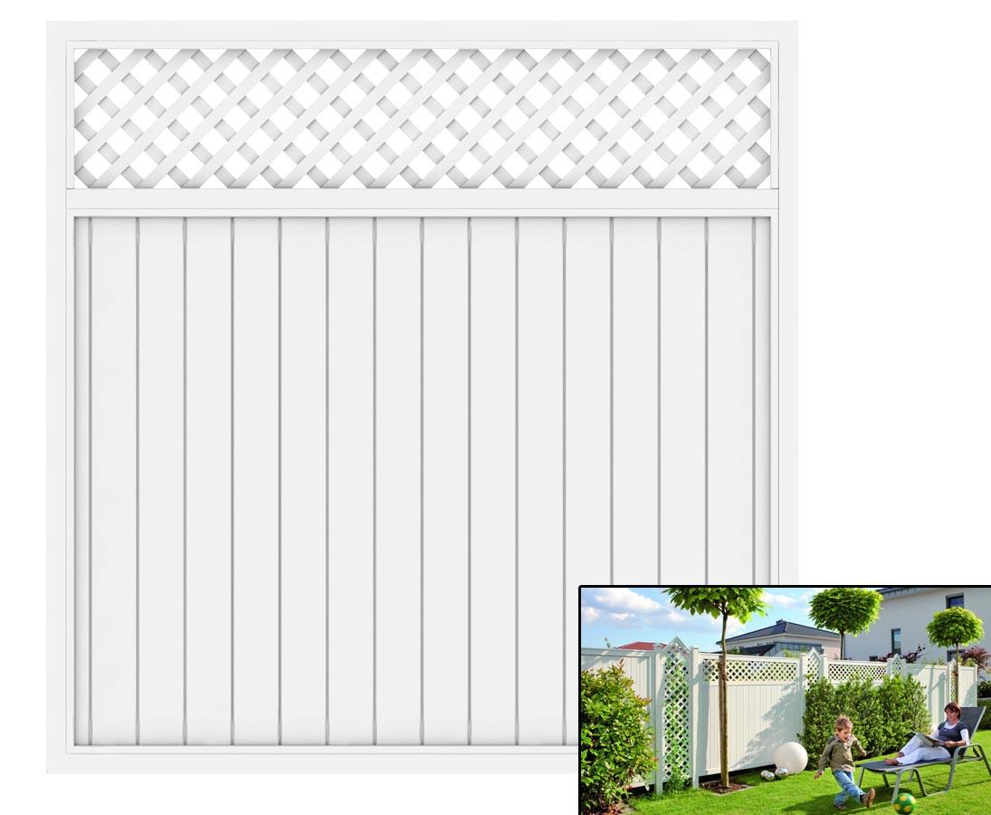 Sichtschutzwand Mit Zierleiste In Weiss 180x180 Hier Bestellen