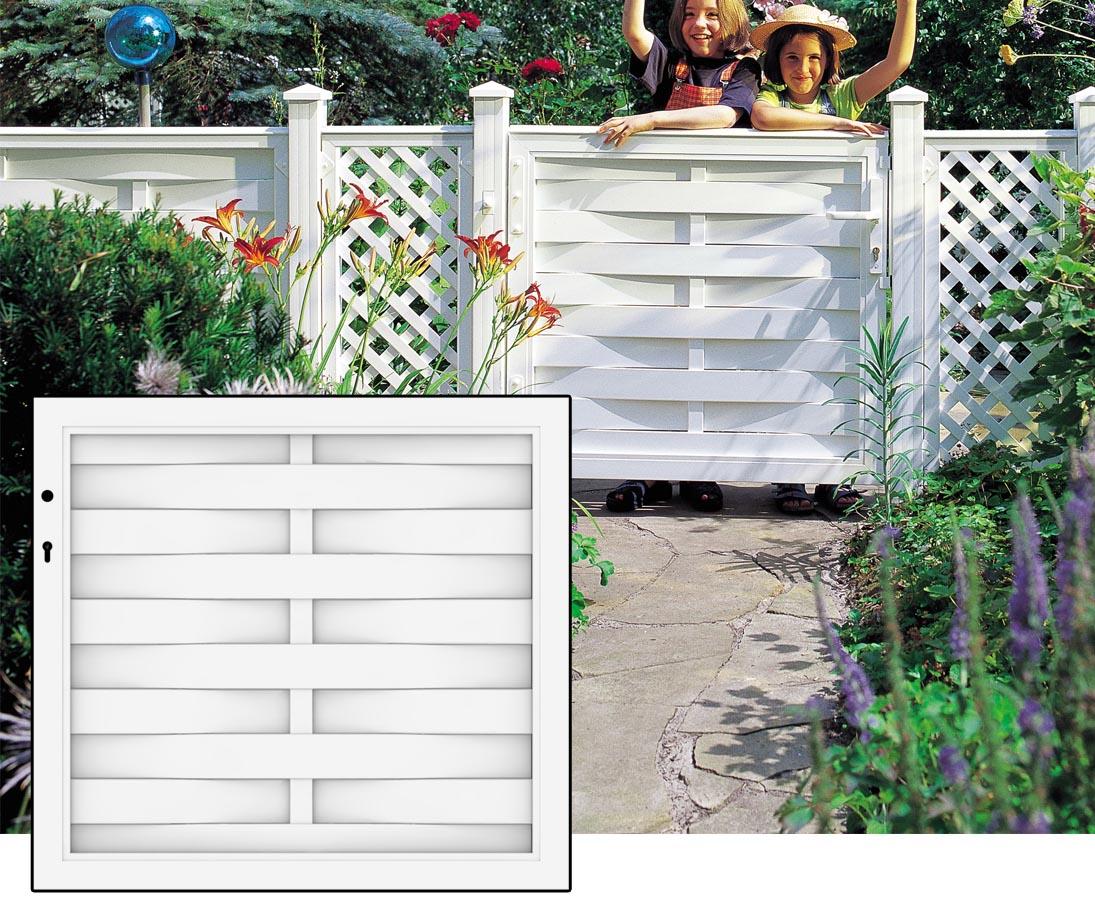 Lamellenzaun Mit Gartentor In Weiss 98x90cm Jetzt Kaufen