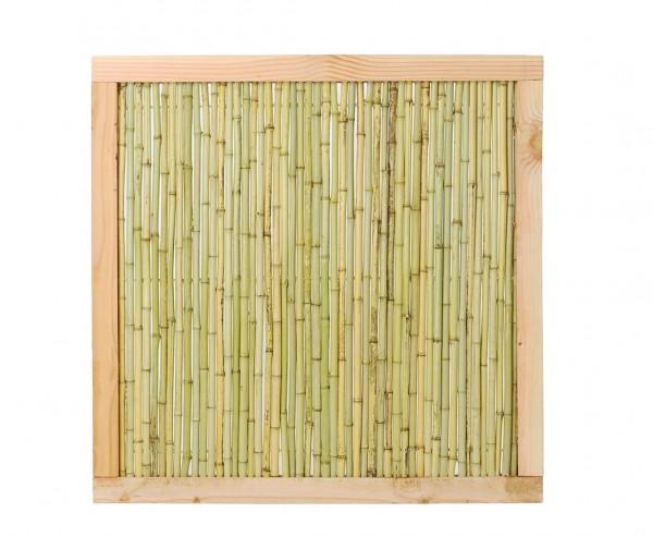 """Bambuszaun """"Koh Samui 2"""" mit 120x120cm heller Rahmen Bambusrohre Durch. ca.1,8 bis 2cm"""