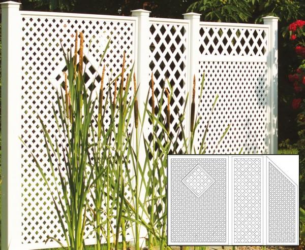 Terrassen Sichtschutz, Set 4 weiss, mit 3 Elementen, Pfosten und Zubehör, Maße L:295 x H:190cm