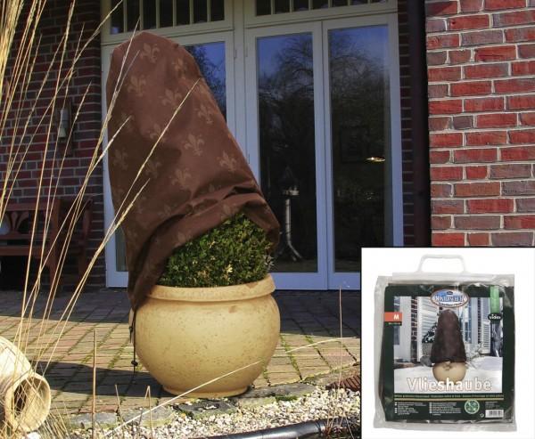 Winterschutz Vliesmütze, Haube mit Lilien Motiv, Höhe 110cm x Breite 90cm, braun/ beige farbig