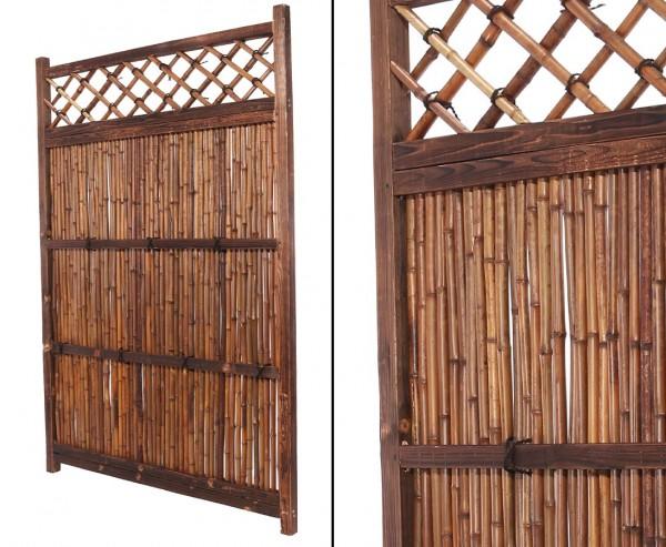 "Bambuselement ""Japan Stil"" 180 x 120cm mit dunklem Rahmen"