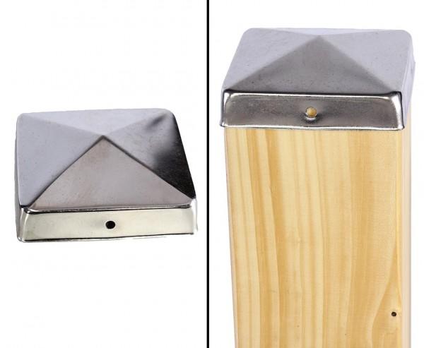 Pfostenkappe Pyramiden Form für 9x9cm Pfosten aus Edelstahl