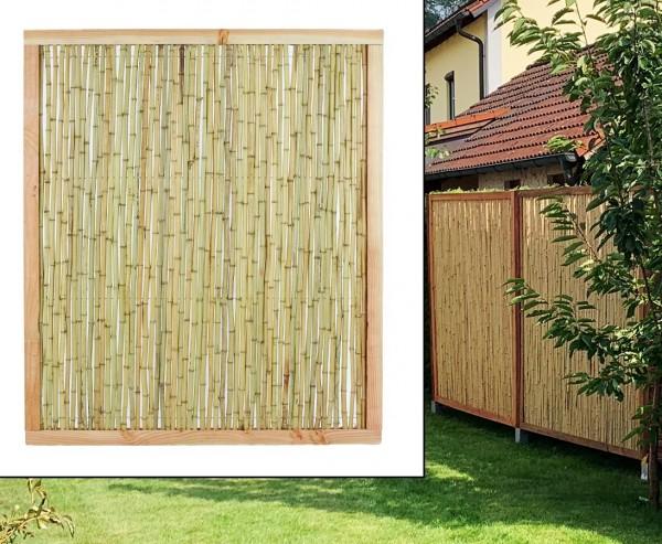 """Bambuswand """"Koh Samui 2"""" mit 140x120cm Naturrahmen mit Bambusrohren Durch. 1,8 bis 2cm"""