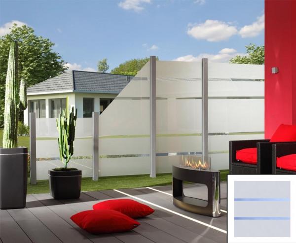 Sichtschutz Glas Element ALPHA 90x90cm, satiniert mit 2 durchsichtigen Streifen