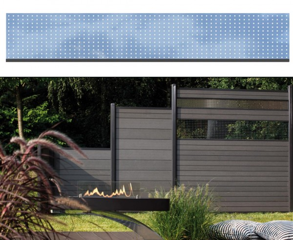 WPC Sichtschutz Glas Streifen hoch 30x180cm