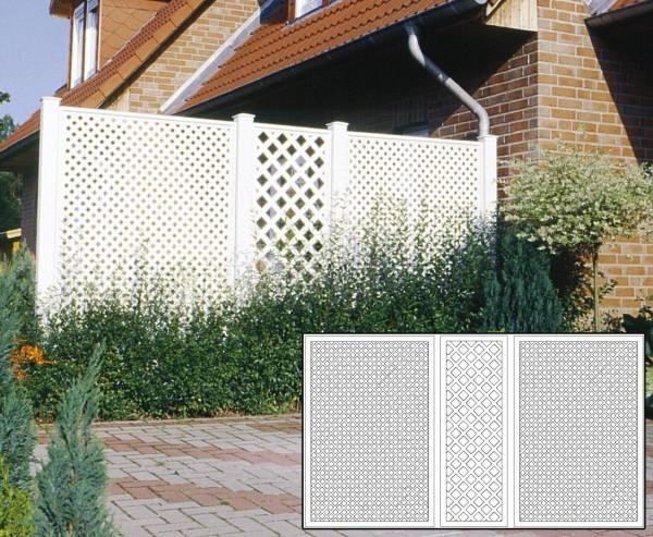 Terrassen Sichtschutz Set 1 weiss mit 3 Basiselementen, Pfosten und Zubehör, Maß L:355 x H:190cm