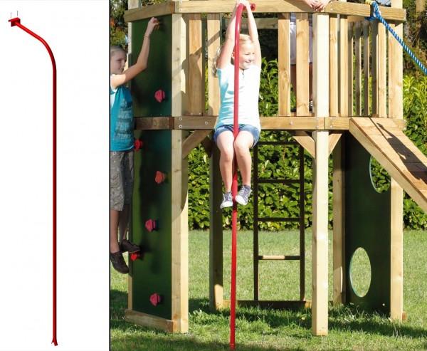 Feuerwehrstange rot, Spielstange für Kletterturm 280cm