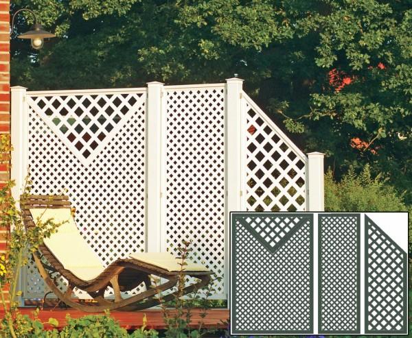 Terrassen Sichtschutz Coventry Set 5, mit 3 grünen Elementen und Zubehör, Maße L 295 x H:190cm