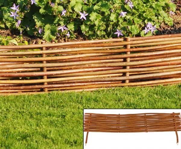 Beeteinfassung, Tegernsee mit 100x 20cm aus Weide, mit Erdspieße ca. 15cm, natur