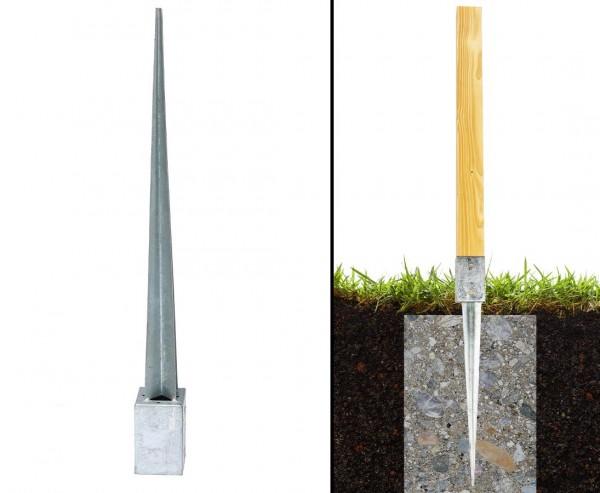 Einschlagbodenhülsen 90cm für Zaunpfosten mit 7x7cm
