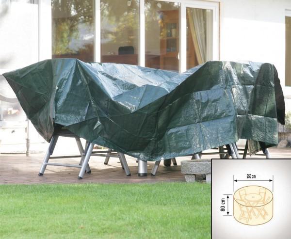 Abdeckhaube für Tischgruppe rund, PE Material grün, Durch:250cm und Höhe 80cm