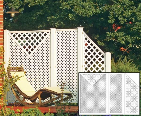 Sichtschutz Terrasse Coventry Set 5 mit 3 weissen Elementen und Zubehör, Maße L:295 x H:190cm