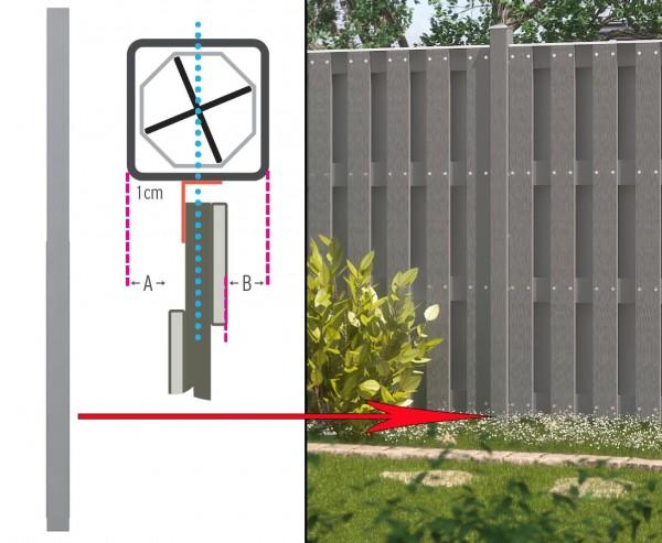 Gartenpfosten lang, WPC mit Metallkern 200x8,4x8,4cm