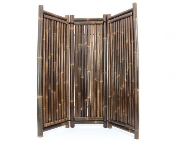 Paravent Bambus schwarz 3teilig mit 180 x 180cm, Wulung Rohre 4-7cm