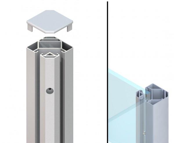 Eck Klemmpfosten silber für WPC Sichtschutzwand mit 105cm