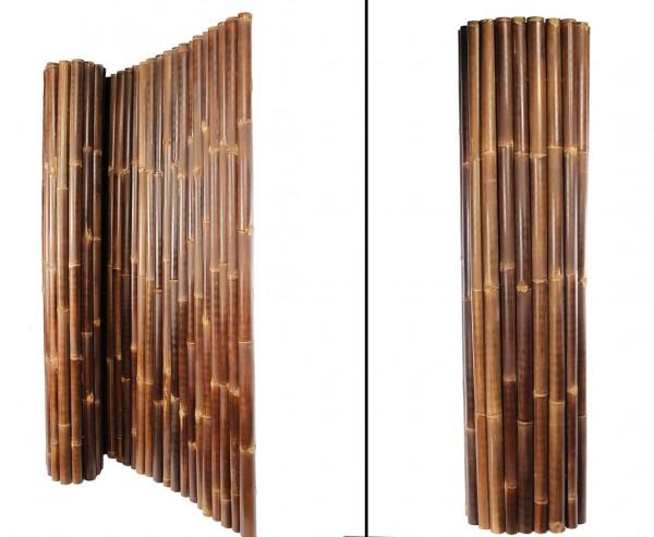 Schwarze Bambusmatte H180xL250cm Durch 4-6cm Wulung Rohre mit Draht verbunden