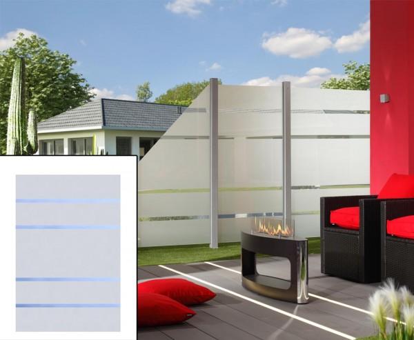 Sichtschutz Glas Element ALPHA 180x120cm, satiniert mit 4 durchsichtigen Streifen
