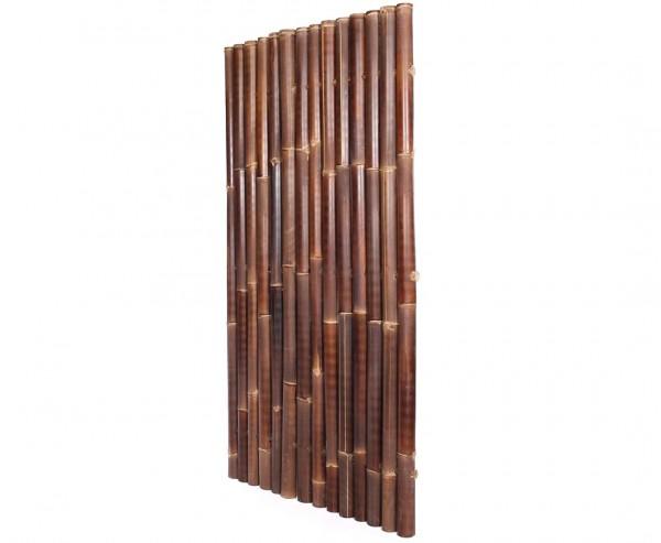 """Bambuswand 180x90cm schwarz-braun starr """"Gigant1"""" aus Wulung Bambus mit 6 bis 8cm B-Ware"""