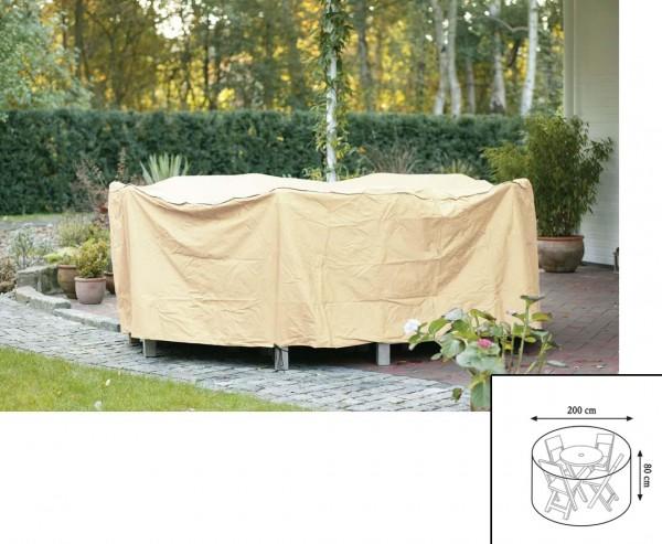 Abdeckhaube Gartenmöbel, für Tischgruppe rund, mit 80cm und einem Durch. von 200cm, beige-uni