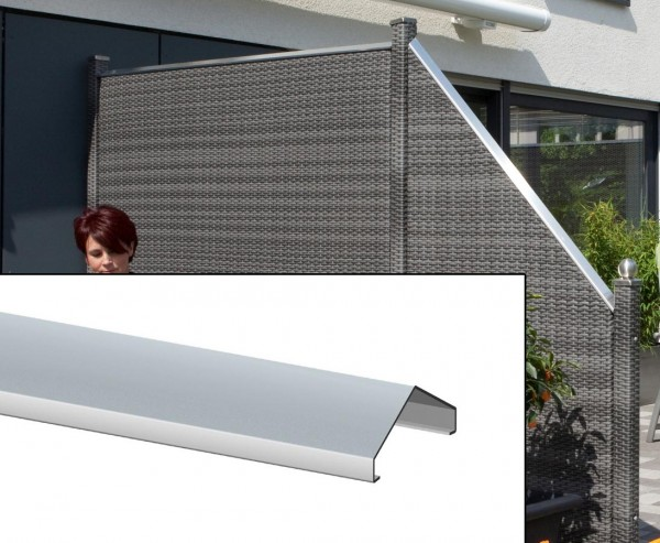 Alu Designaufsatz für Polyrattan Sichtschutz, Länge 180cm
