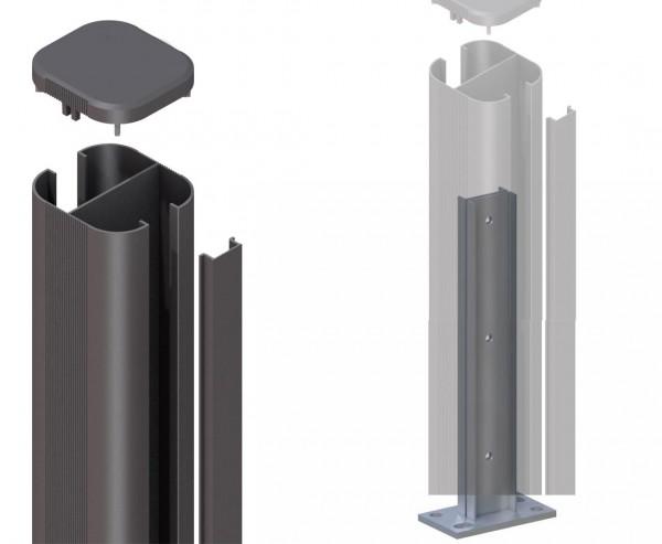 Zaunpfosten System basic anthrazit zum aufschrauben 105cm