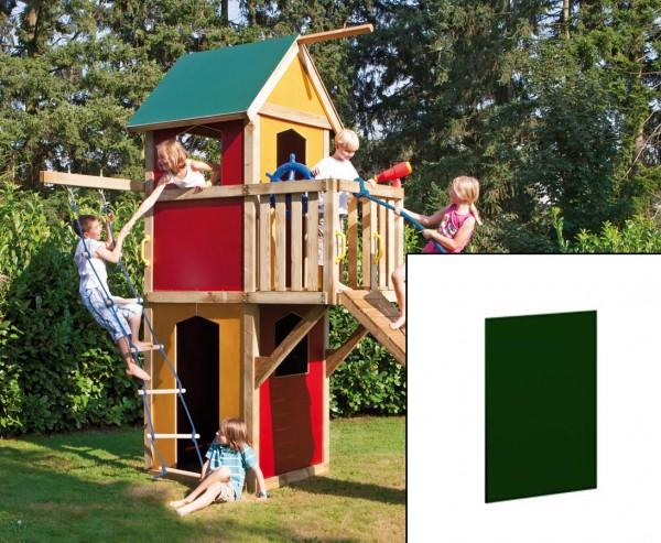 Holzwand für Spielhaus, geschlossen in grün mit 79x90cm