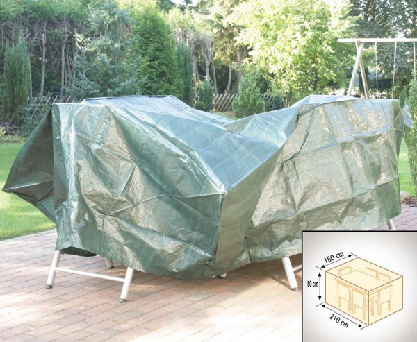 Abdeckhaube für Tischgruppe rechteckig, PE Material grün, L:210cm x B:160cm x H:80cm