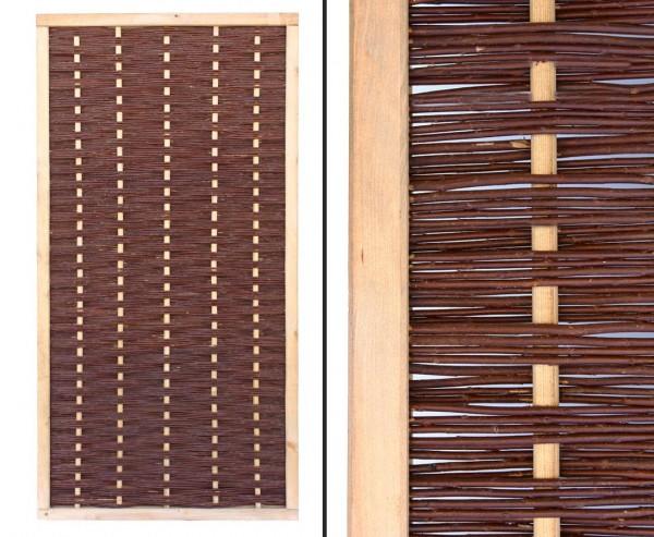 """Sichtschutzwand Weide """"Mia"""" 180x90cm hochwertig, gekochte Weide, Holz gebeizt"""