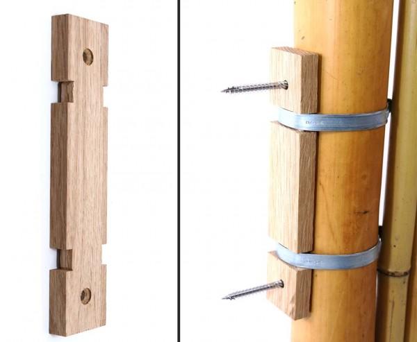Bambusrohr Zaun Verbinder aus Eichenholz mit 2 Rohrschellen 5 bis 7cm