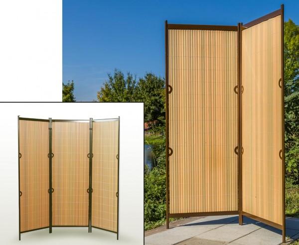 """Raumteiler, """"Rügen"""" 160 x 185cm teak/ braun, 3-teilig"""