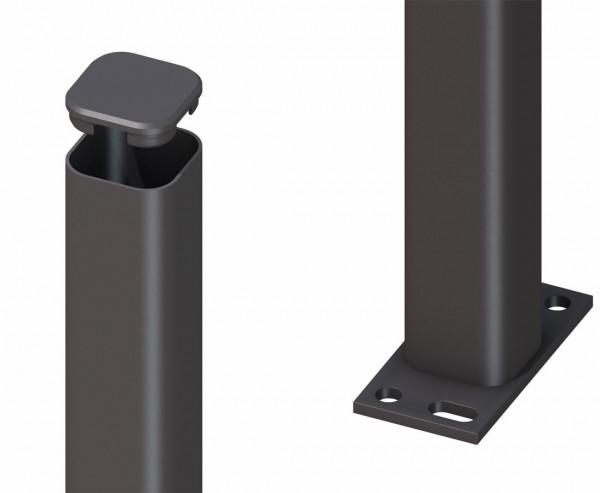 Zaunpfosten aus Metall anthrazit zum aufschrauben 150cm