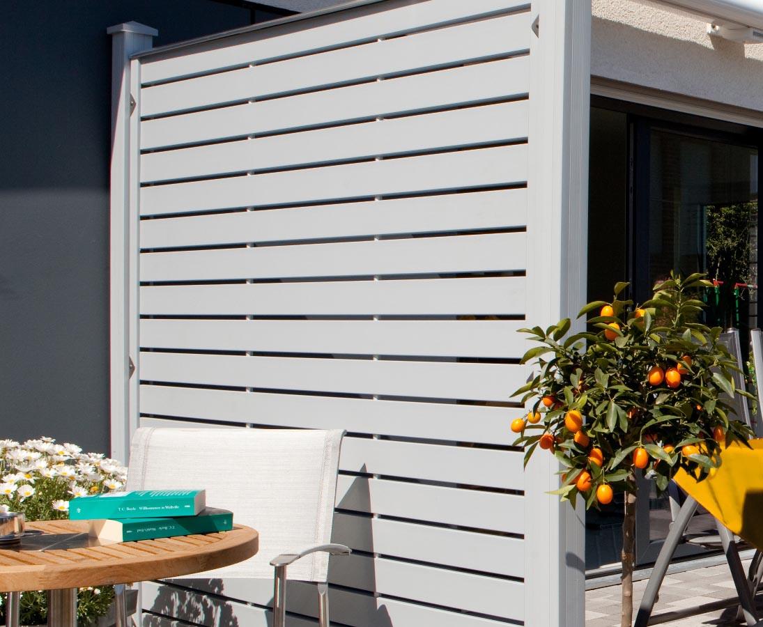 Sichtschutz Design Aus Pvc Elementen Grau 180x180 Jetzt Gunstig Kaufen