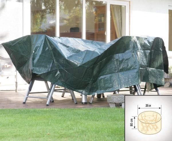 Abdeckhaube für Tischgruppe rund, PE Material grün, Durch:200cm und Höhe 80cm